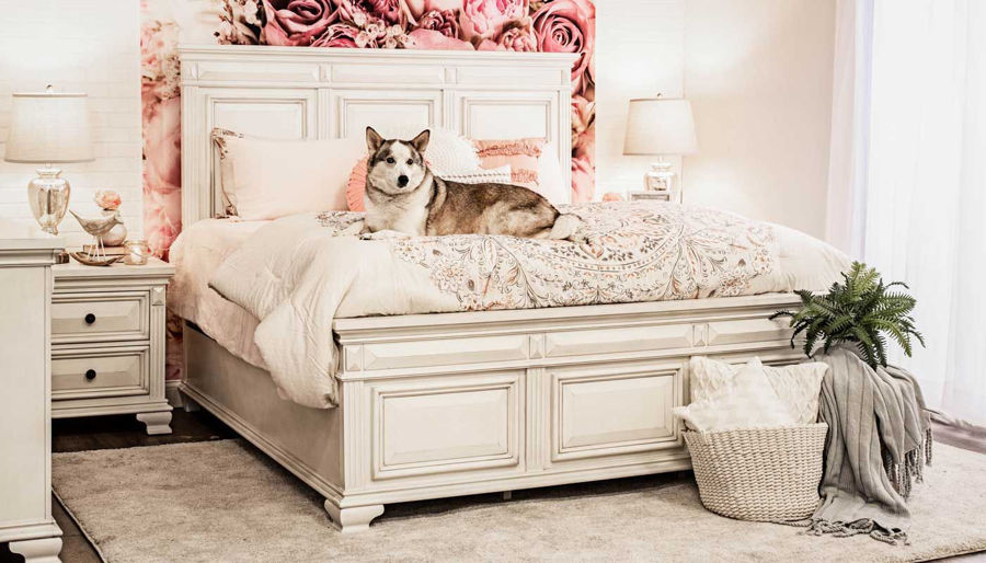 Picture of Calloway II White Bed, Dresser, Mirror & Nightstand