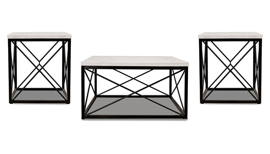 Picture of Skyler White Marble 3 Piece Table Set