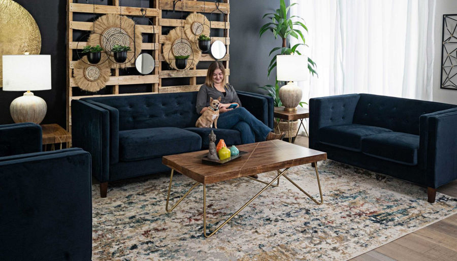 Picture of Dryden II Royale Navy Sofa & Loveseat