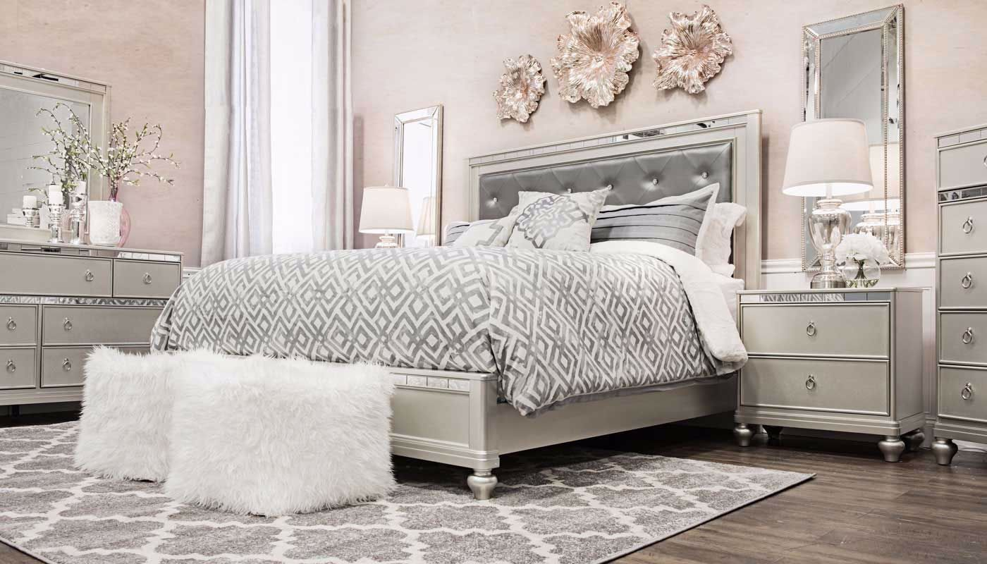 Glam 3-Piece King Bed, Dresser, Mirror & Nightstand - Home ... on Mirrors Next To Bed  id=39868