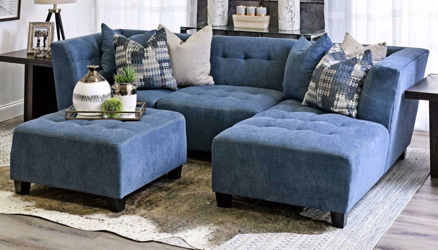 Picture of Cooper Navy 3 Piece Sectional with Right Facing Chaise