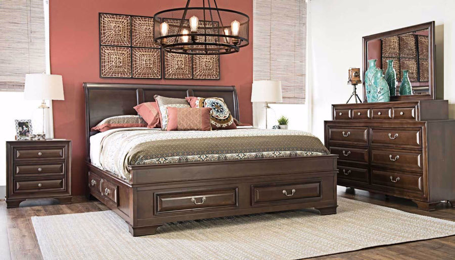 Picture of Olivia II Queen Bed, Dresser, Mirror & Nightstand