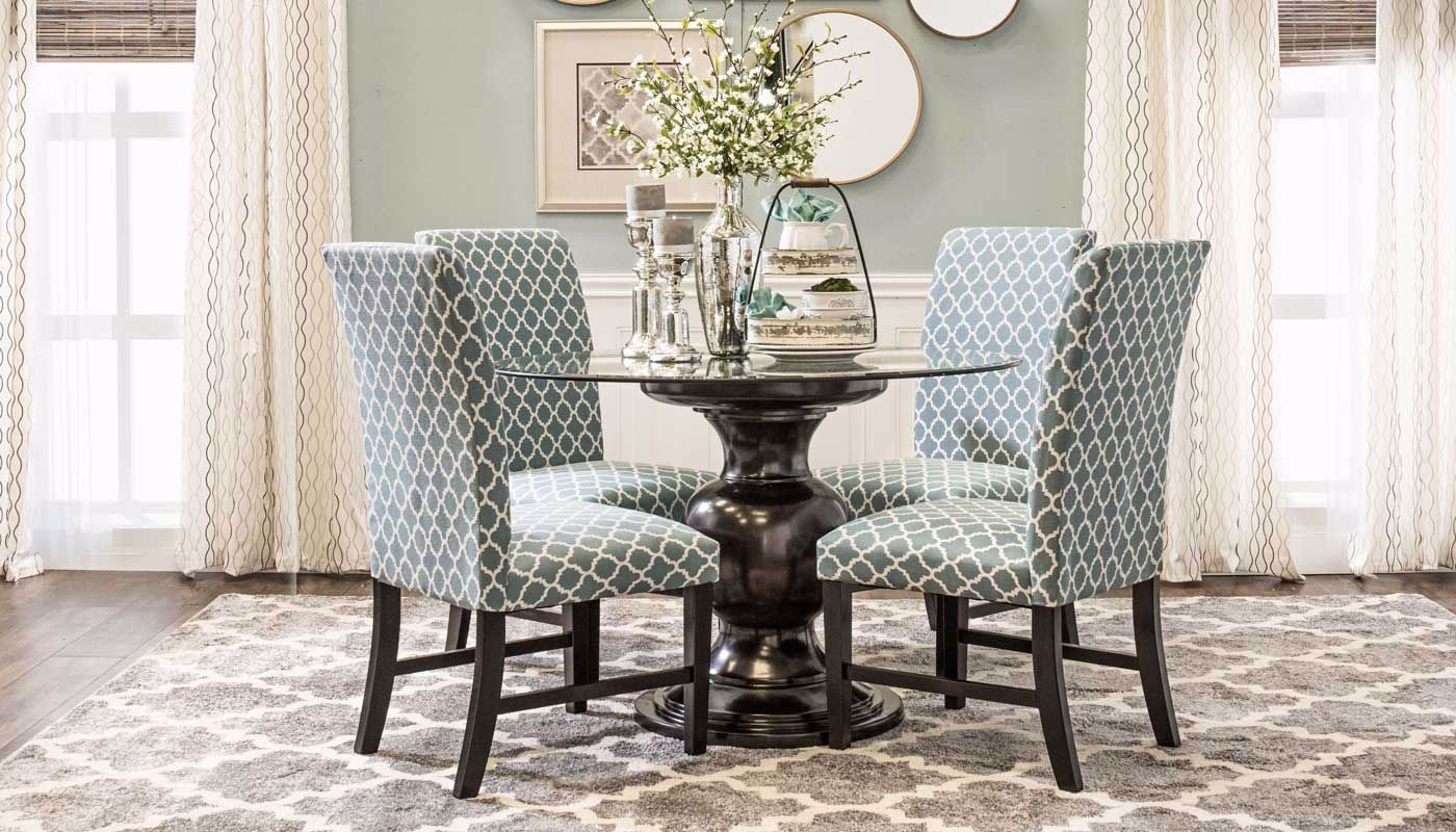 Malaga Blue 5 Piece Dining Height Collection Home Zone