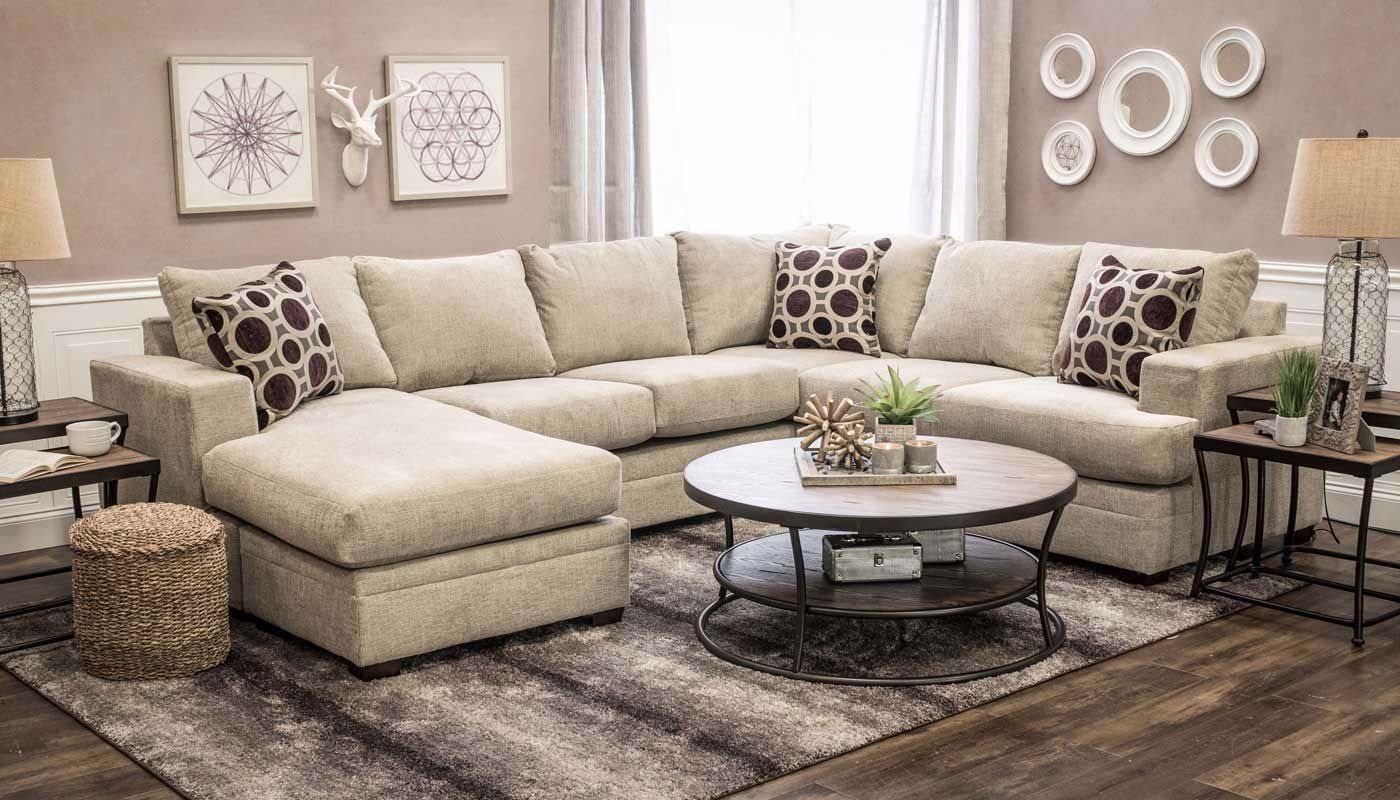 Sullivan Canvas Sofa With Chaise Home Zone Furniture
