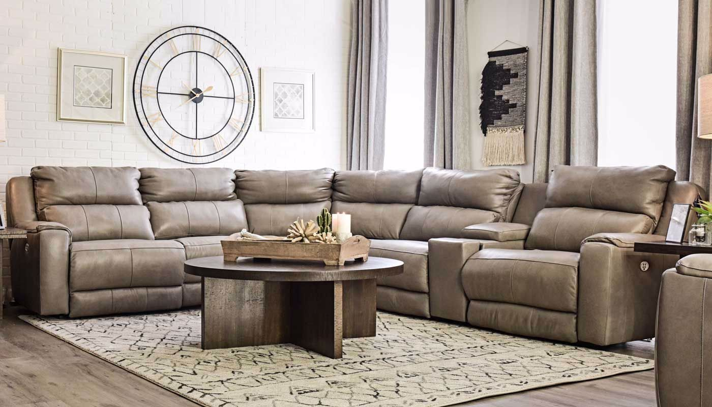 Overstreet Cobblestone Sectional Home Zone Furniture
