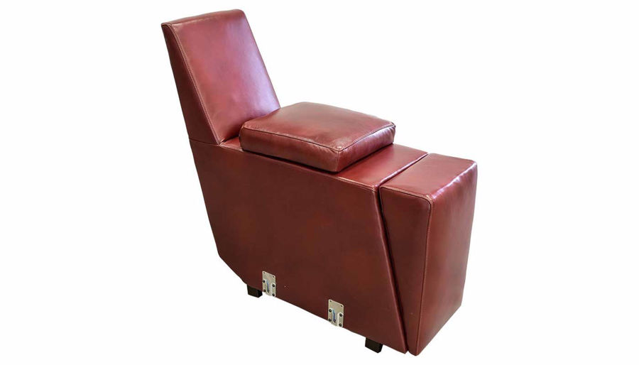 Picture of Overstreet Marsala Leather Console with Hidden Cupholder