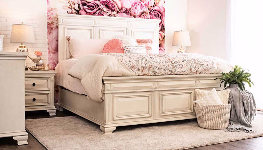 Picture of Calloway White 3-Piece Bed, Dresser, Mirror & Nightstand