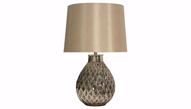 Imagen de Embossed Antique Nickel Table Lamp Set of 2