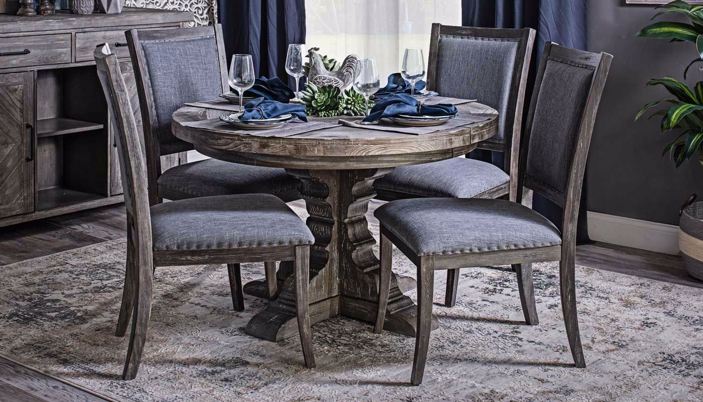 Grey Round Dining Table Set