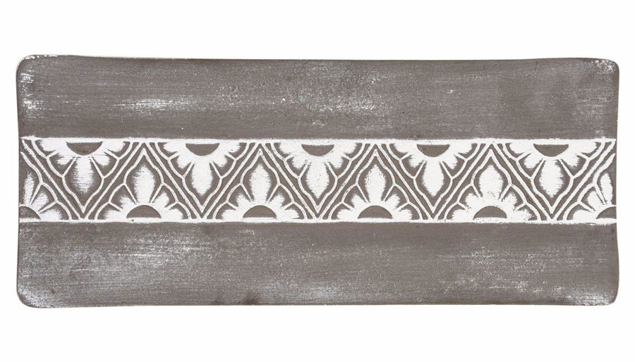 Picture of HZ Rectangle Grey Floral Tray