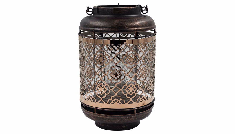 Picture of HZ Metal Rose Gold Floral Lantern Large