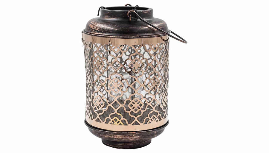 Picture of HZ Metal Rose Gold Floral Lantern Small