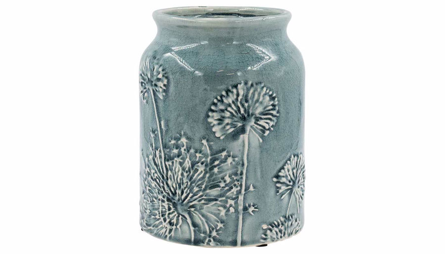 Picture of HZ Blue Floral Embossed Ceramic Vase