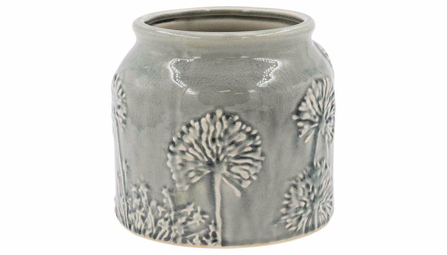 Picture of HZ Grey Floral Embossed Ceramic Vase
