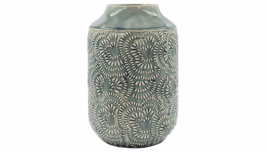 Imagen de HZ Light Blue Floral Embossed Vase