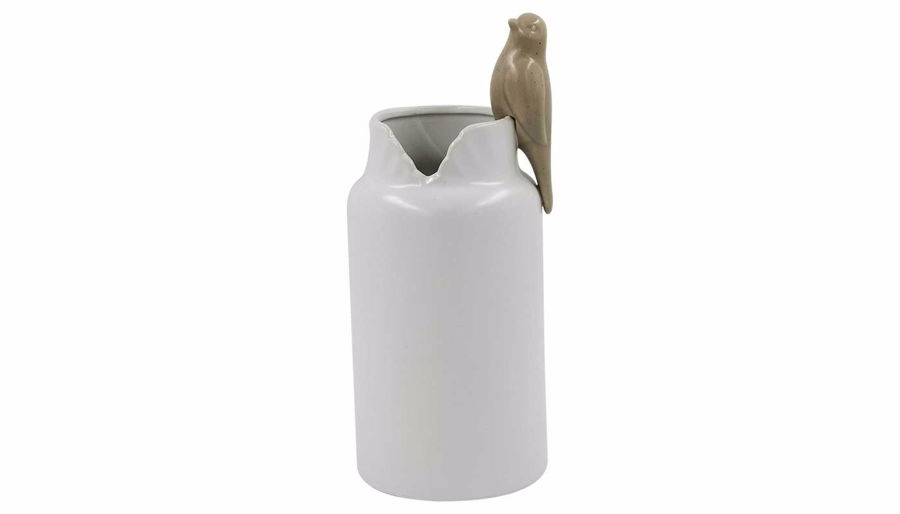 Imagen de HZ White Ceramic Vase with Bird Large