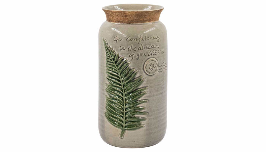 Imagen de HZ Grey Ceramic Vase With Leaf Md