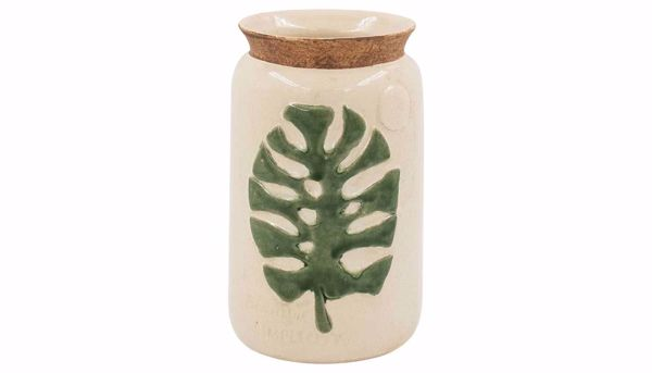 Picture of HZ Cream Ceramic Vase With Leaf Small