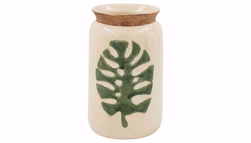 Imagen de HZ Cream Ceramic Vase With Leaf Small