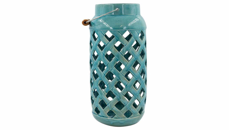 Imagen de HZ Blue Lattice Cutout Vase Large