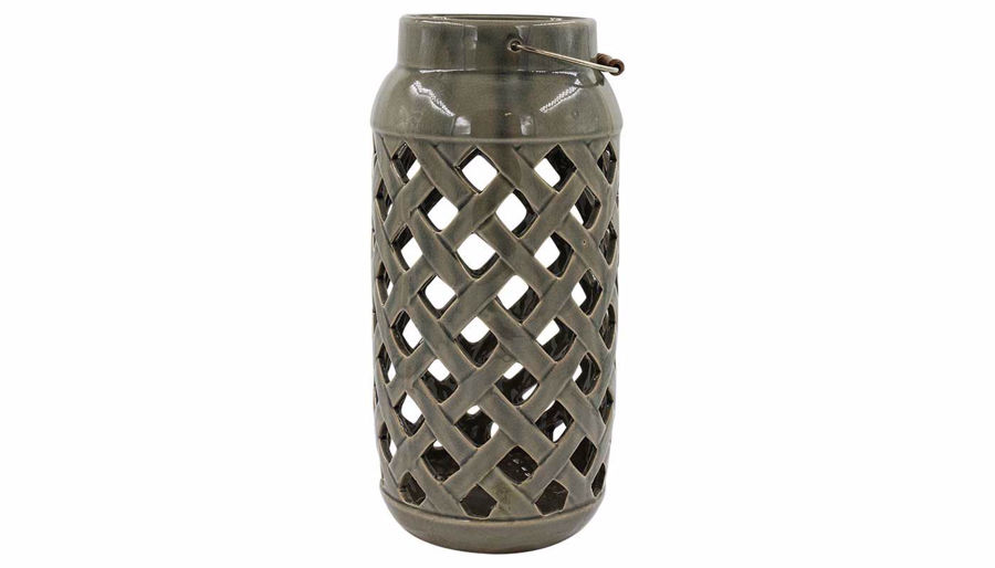 Picture of HZ Grey Lattice Cutout Vase Large