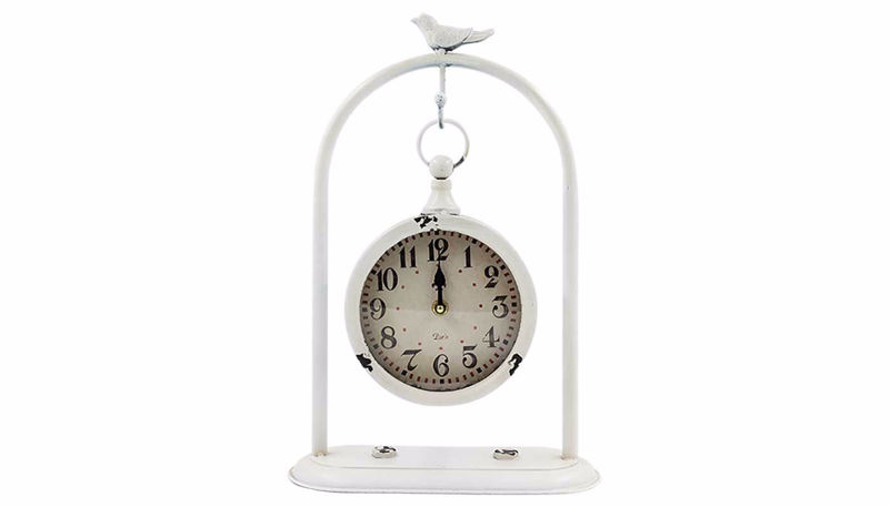 Imagen de HZ White Hanging Clock with Bird