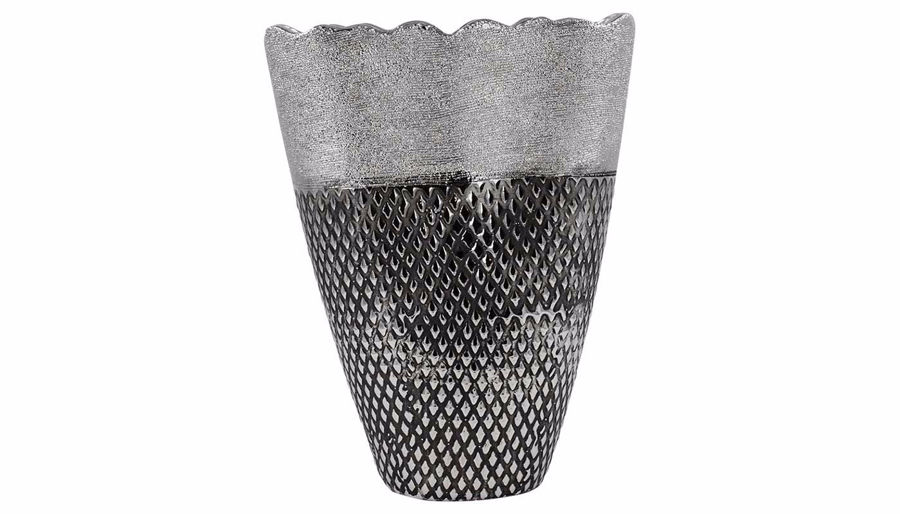 Imagen de HZ Silver Waved Edge Embossed Vase