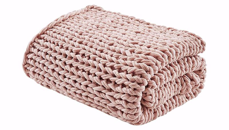 Imagen de Chunky Double Knit Throw Blush