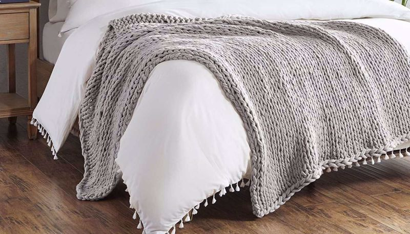 Imagen de Chunky Double Knit Throw Grey
