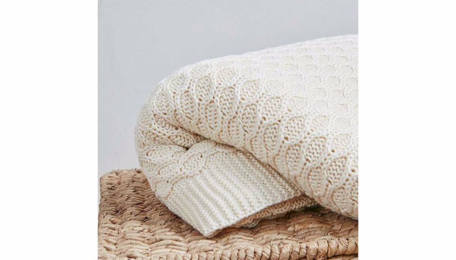 Picture of Willow Cotton Knit Throw Tan