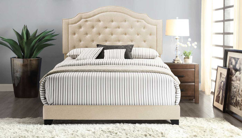 Picture of Upholstered Queen Bed Beige