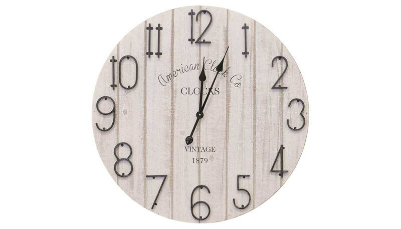 Imagen de HZ White Wash Wood Clock