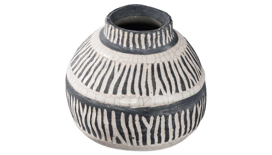 Imagen de HZ White & Grey Ceramic Vase Short - 1706