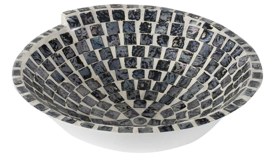 Picture of HZ Black & White Mosaic Bowl - 44833-BLK