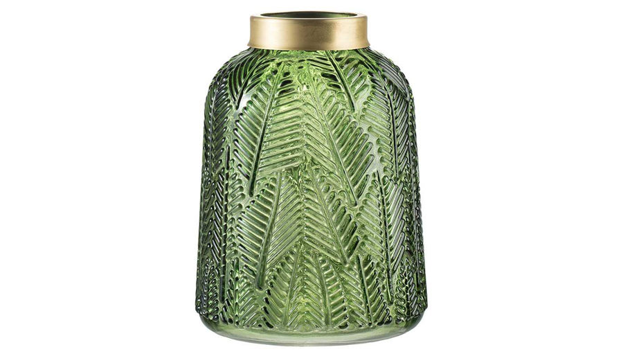 Imagen de HZ Green Glass Leaf Embossed Vase Large