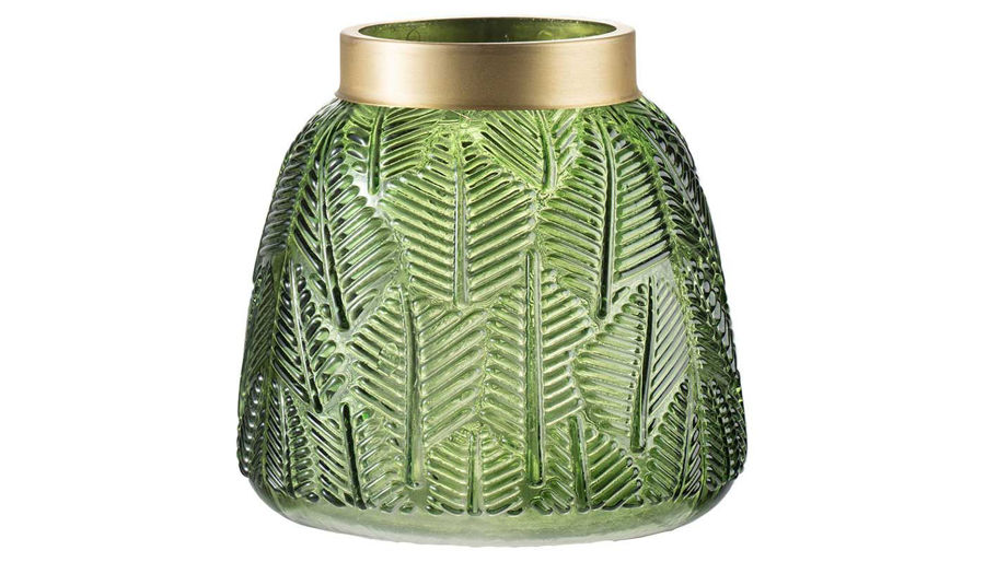 Imagen de HZ Green Glass Leaf Embossed Vase Small