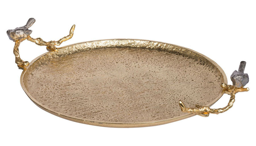 Imagen de HZ Round Gold Tray With Birds - AV42854-GLD