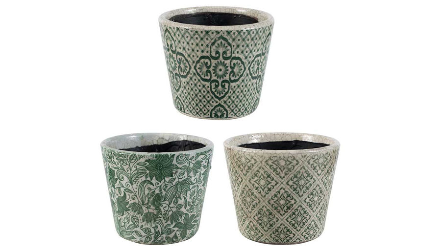 Picture of HZ Herb Pot Green Pattern - Choose 1 of 3 - AV2195