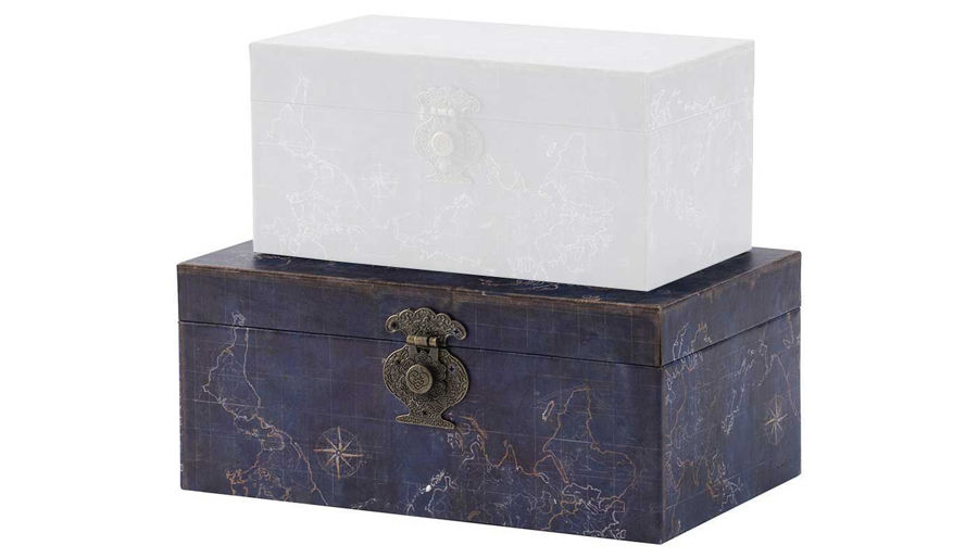 Imagen de HZ Large Vintage Map Decor Box - AV44547-LG