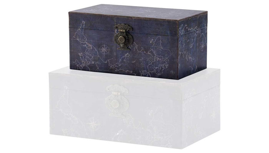 Picture of HZ Small Vintage Map Decor Box - AV44547-SM