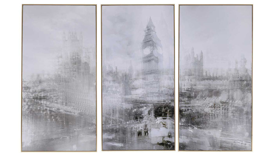 Imagen de HZ Foggy City Print Gold Frame Set Of 3 - 42126