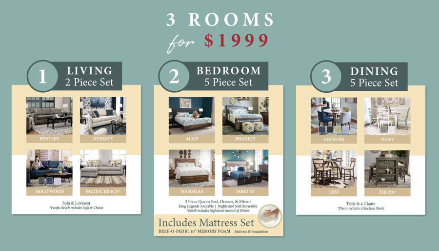 3 Rooms for $1999