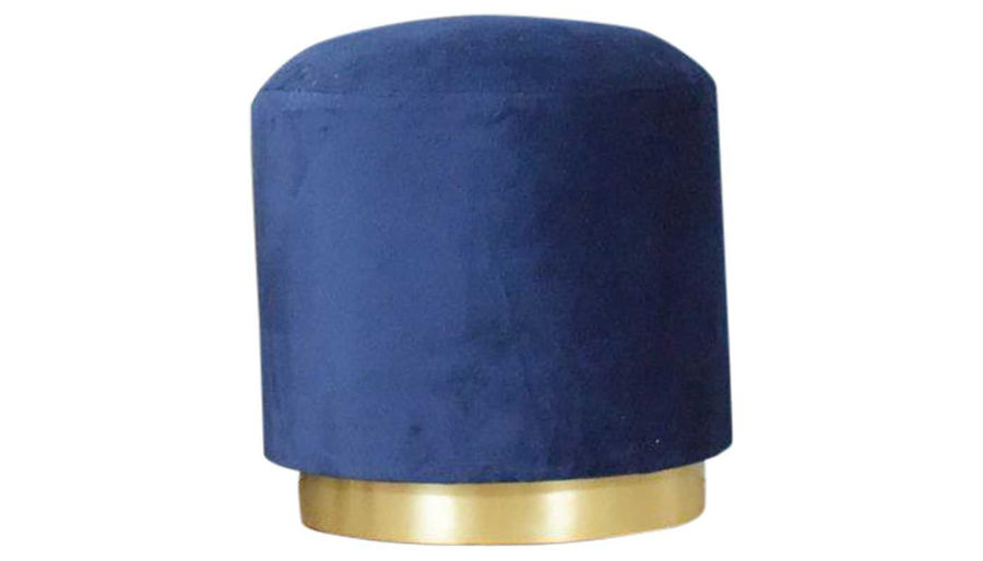 Picture of Evie Blue Wood Valvet Pouf