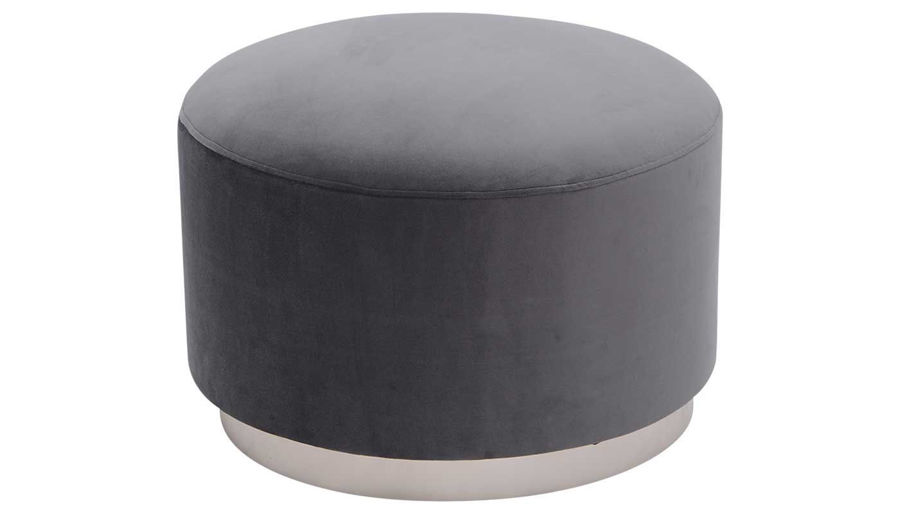 Picture of Gia Grey Round Velvet Pouf