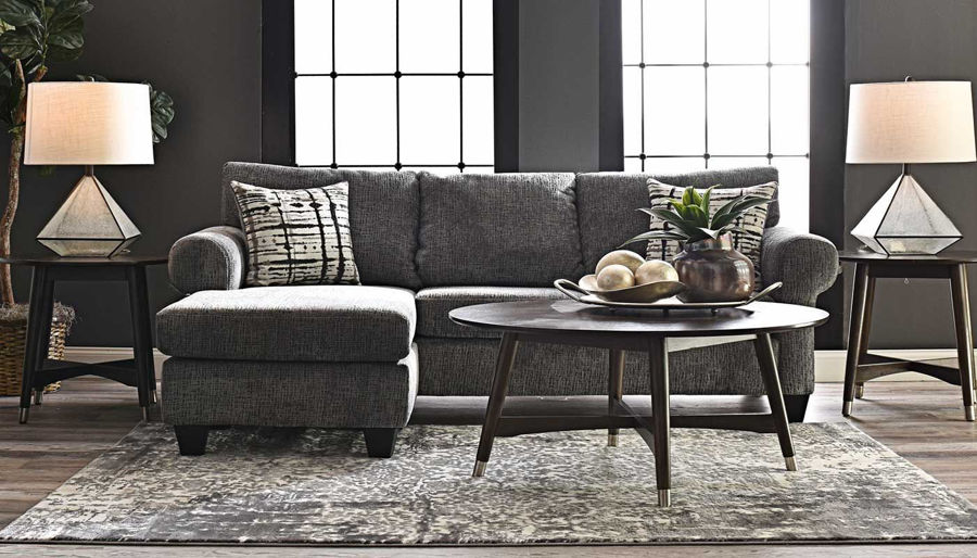Picture of Gameroom Grey Sofa With Chaise