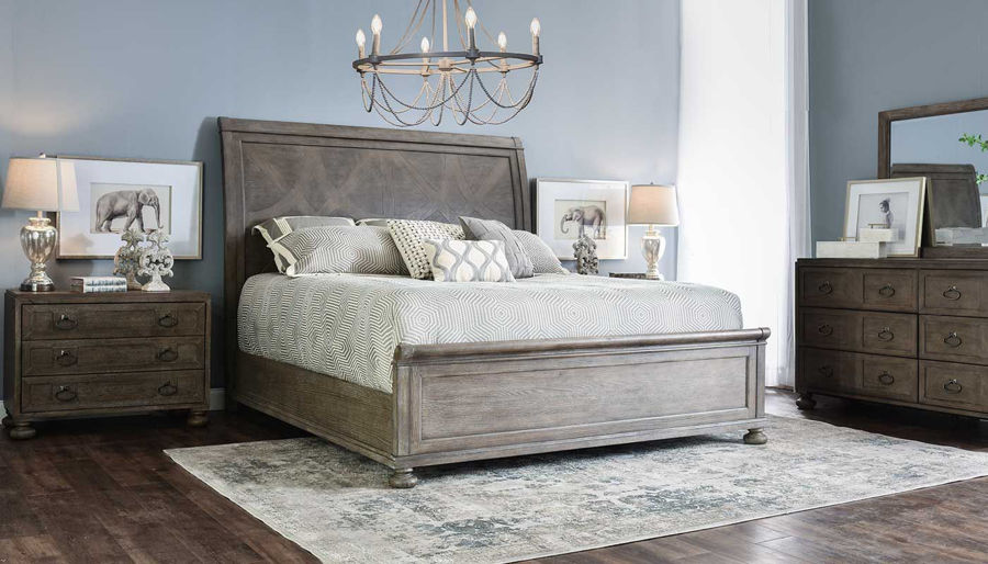 Picture of Malibu King Bed, Dresser, Mirror & 2 Wooden Nightstands