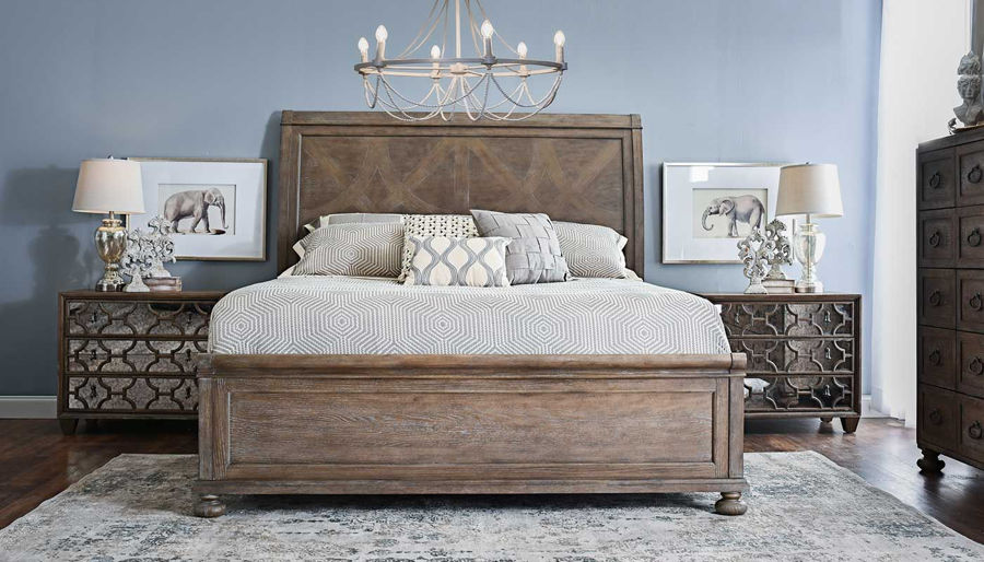 Picture of Malibu Queen Bed, Dresser, Mirror & 2 Mirrored Nightstands