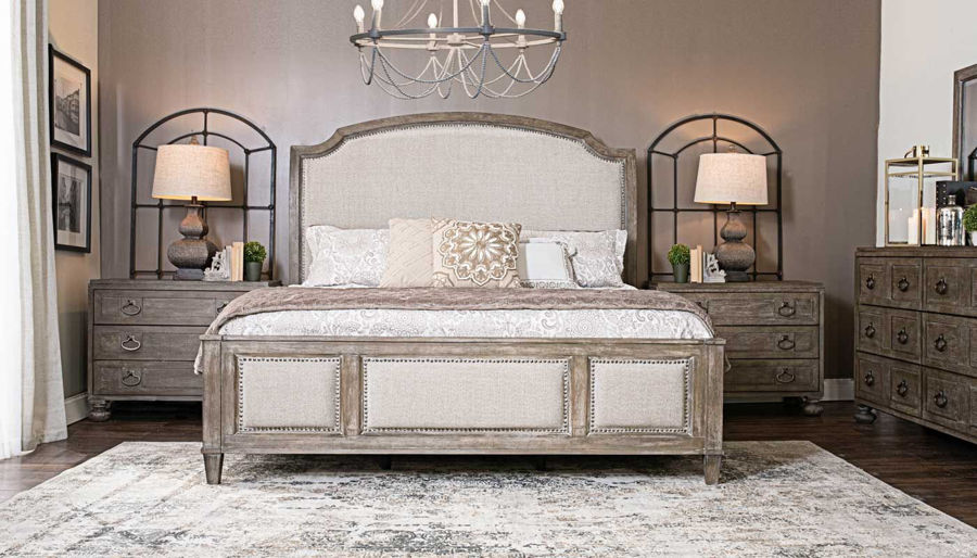 Picture of Riverside Queen Bed, Dresser, Mirror & 2 Wooden Nightstands