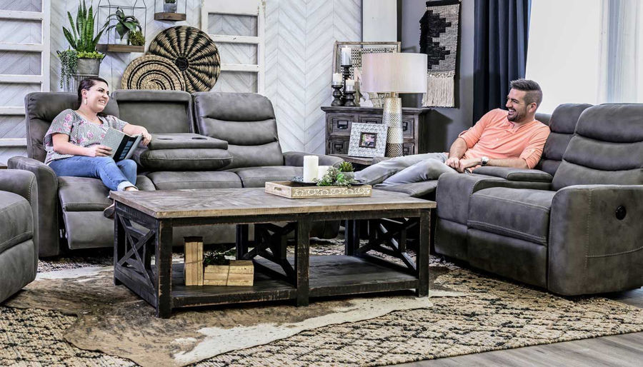 Picture of Forte Grey Power 2 Piece Sofa & Loveseat