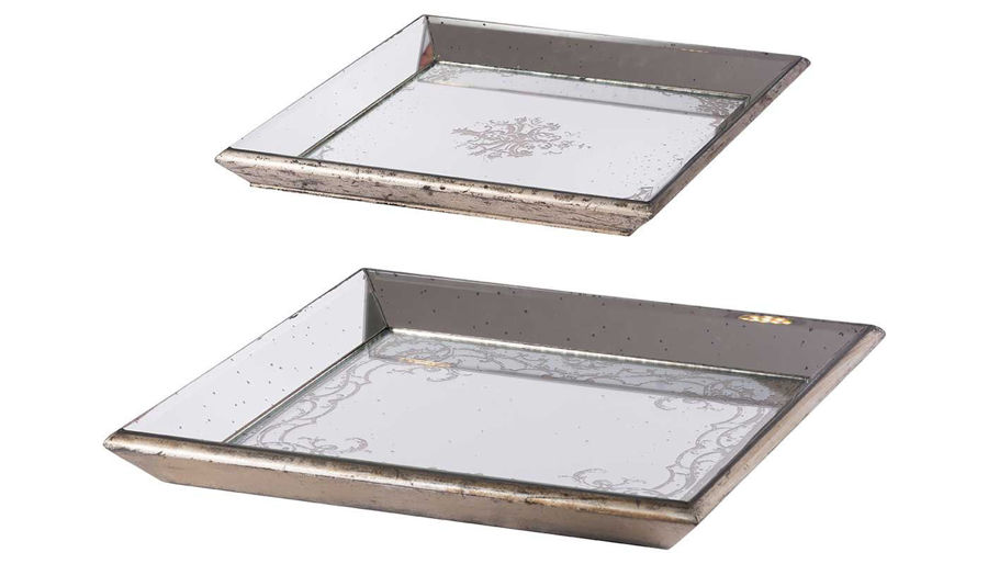 Picture of HZ Violet Mirrored Sq Tray Small